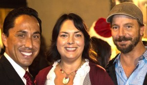 (L to R) Interim Mayor Todd Gloria, owner of South Park's Make Good Sophia Hall and local resident Tim Parks at the inaugural First Light event as a part of South Park's Luminaria celebration (Photo by Jon Hall).