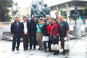 (l – r) Representatives from the City Heights Built Environment Team, City Heights Community Development Corporation, Environmental Health Coalition and Asociacion De Liderazgo Comunitario who successfully advocated for bicycle infrastructure spending at the recent SANDAG board of directors meeting (Courtesy Randy Van Vleck)