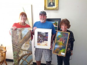 (l-r) Marian Zeldin, Mike and Anita, Participants in the Redwood Bridge Club December Art Show (Courtesy Redwood Bridge Club)