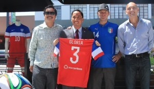(l to r) Dang Nguyen of Bar Pink, Council President Todd Gloria, Arne Holt of Caffé Calabria and Joe Balestrieri of The Office announce plans in North Park for the largest World Cup celebration in the United States. (Photo by Hutton Marshall)