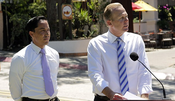 (l to r) Council President Todd Gloria and Mayor Kevin Faulconer announce renovations to Juan Street. (Photo by Hutton Marshall)