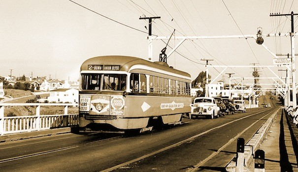 The President's Conference Council (PCC) Streetcar 525 on the number 2 line (same as the MTS Bus route today) makes its way north across Switzer Canyon in the 1940s. (Courtesy San Diego Electric Railway Association)