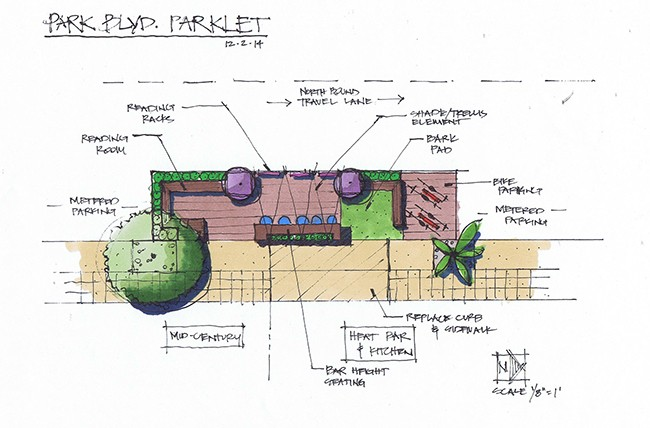 Proposed design for the first Hillcrest parklet, adjacent to Heat Bar & Kitchen on Park Boulevard (Courtesy Michael Douglas Brennan, Carson Douglas Landscape Architecture.)