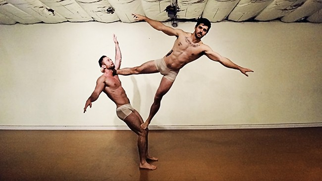 """(l to r) Travis Ti and Ehrick Costello rehearse their piece that will be part of """"Dancer Briefs"""" opening next month at ion theatre in Hillcrest. (Photo by Travis Ti)"""