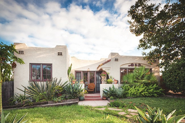 This 1926 California bungalow, with Spanish Revival influence, emphasizes a horizontal link between the house and the land around it. This romantic, simplified version of the Spanish Revival or Spanish Colonial California bungalow evolved to fill the needs of the working-class budget. A great contrast to the turn of the century ornate Victorian style, in the 1920s and 1930s neighborhoods were dotted with these single-story stucco homes inspired by the launching of the 1915 San Diego California Exposition. (Photo by Andy McRory)