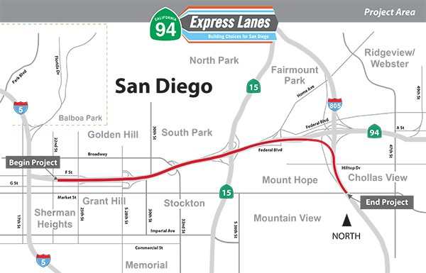 The SR-94 Express Lanes Project proposed to connect I-805 South Express Lanes with Downtown by constructing two new Express Lanes along SR-94, one in each direction, and a new direct connector between SR-94 and I-805. (Courtesy of Caltrans)