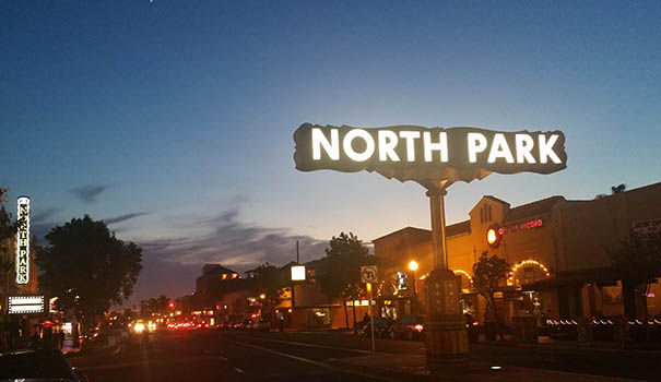 The iconic North Park sign will remain the same, but the rest of University Avenue in North Park will be transformed between Florida and Boundary streets. (Photo by Ken Williams)