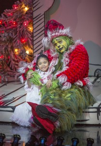 Mikee Castillo as Cindy-Lou Who and J. Bernard Calloway as The Grinch (Photo by Jim Cox)
