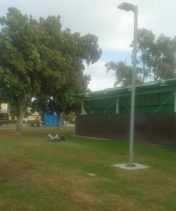 Homeless people sleeping in North Park Community Park get complaints. (Photo by Ken Williams)