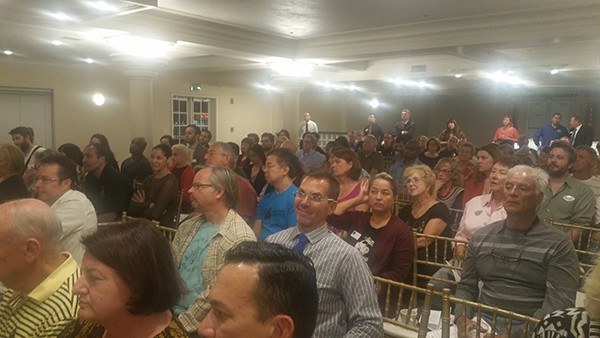 More than 100 people attended a forum on homelessness in North Park, including Toni G. Atkins (bottom left), Speaker of the Assembly. (Photo by Ken Williams)