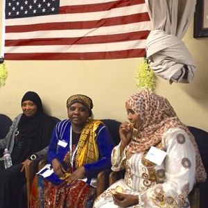 (l to r) Tegest Alemu, Majuma Madende and Madina Hussein at Somali Bantu Association of America in City Heights (Photo by María José Durán)