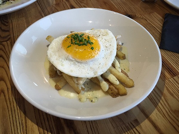 Moray fries with a duck egg