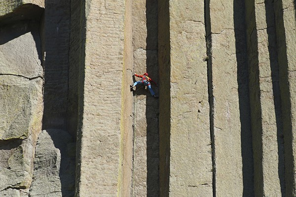 Conrad Anker climbs Devils Tower National Monument in Wyoming. (Photo by Barbara MacGillivray)