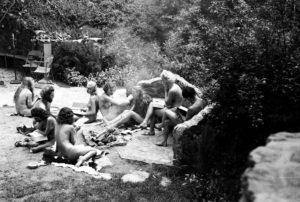 Nudists gather for a reading session in Zoro Garden in Balboa Park.