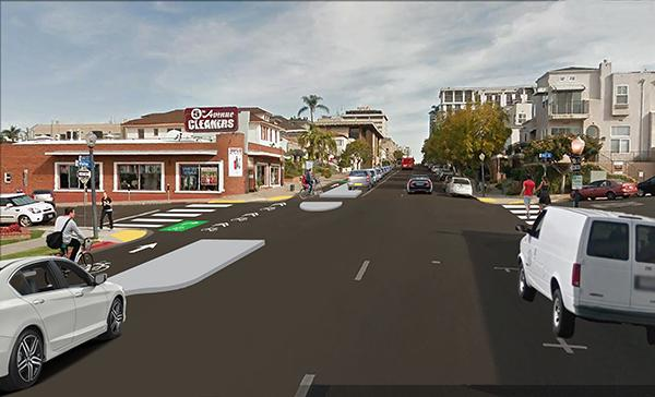 Visual simulation of what Fifth Avenue at Ivy Street will look like when the project is finished: enhanced crosswalks and a protected bike lane. (Courtesy of SANDAG)