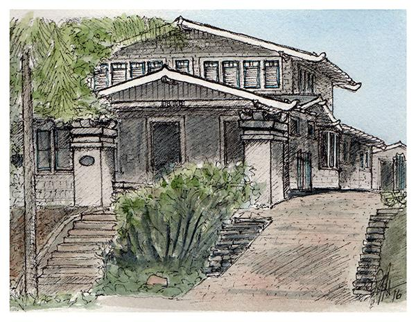 One of the homes on the Historic Home Tour (Illustration by Brandon Hubbard)