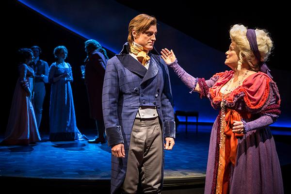 Sean Allan Krill as Colonel Brandon and Paula Scrofano as Mrs. Jennings. (Photo by Liz Lauren, courtesy of Chicago Shakespeare Theater)