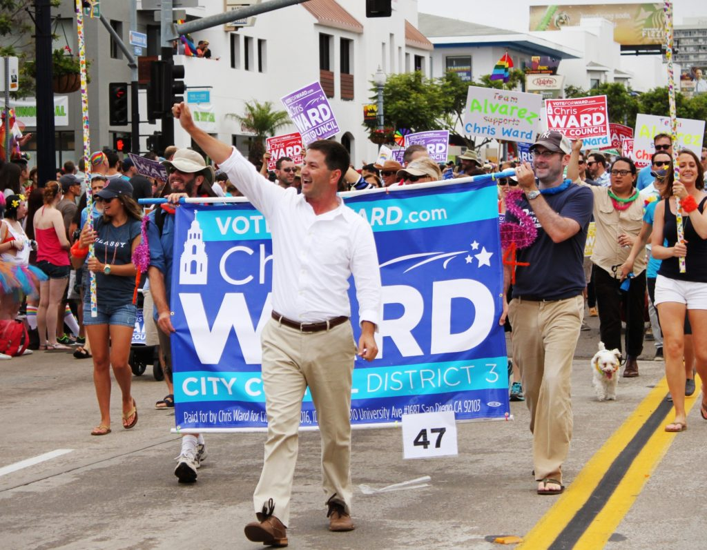 Chris Ward marched at San Diego Pride (Courtesy of Chris Ward campaign)