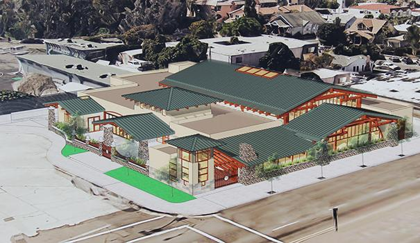 An artist's rendering of the Mission Hills-Hillcrest library, showing Washington Street in the foreground and the entrance off the Front Street cul-de-sac (Photo by David Mannis)