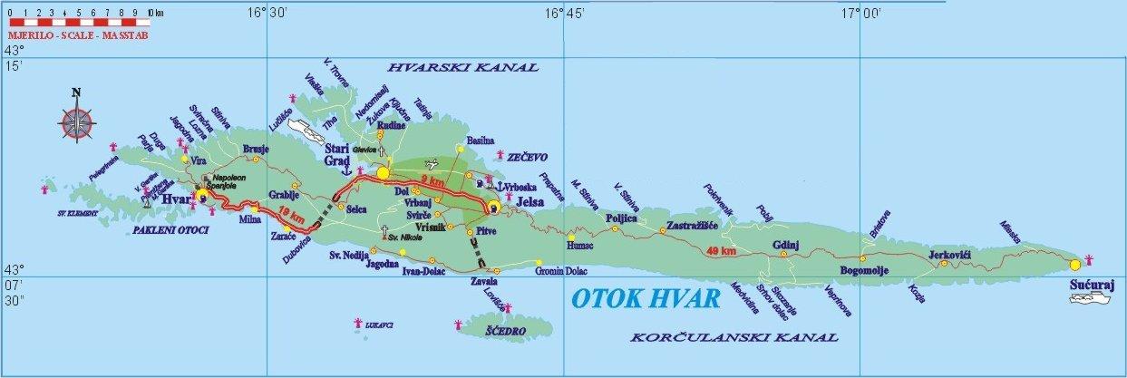 mapa da ilha Hvar
