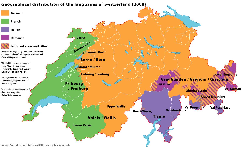 mapa idiomas suíça