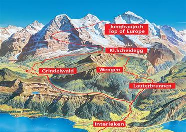 mapa regiao jungfraujoch alpes suiços