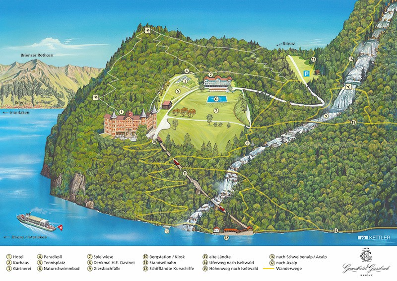 mapa brienz cachoeira giessbach