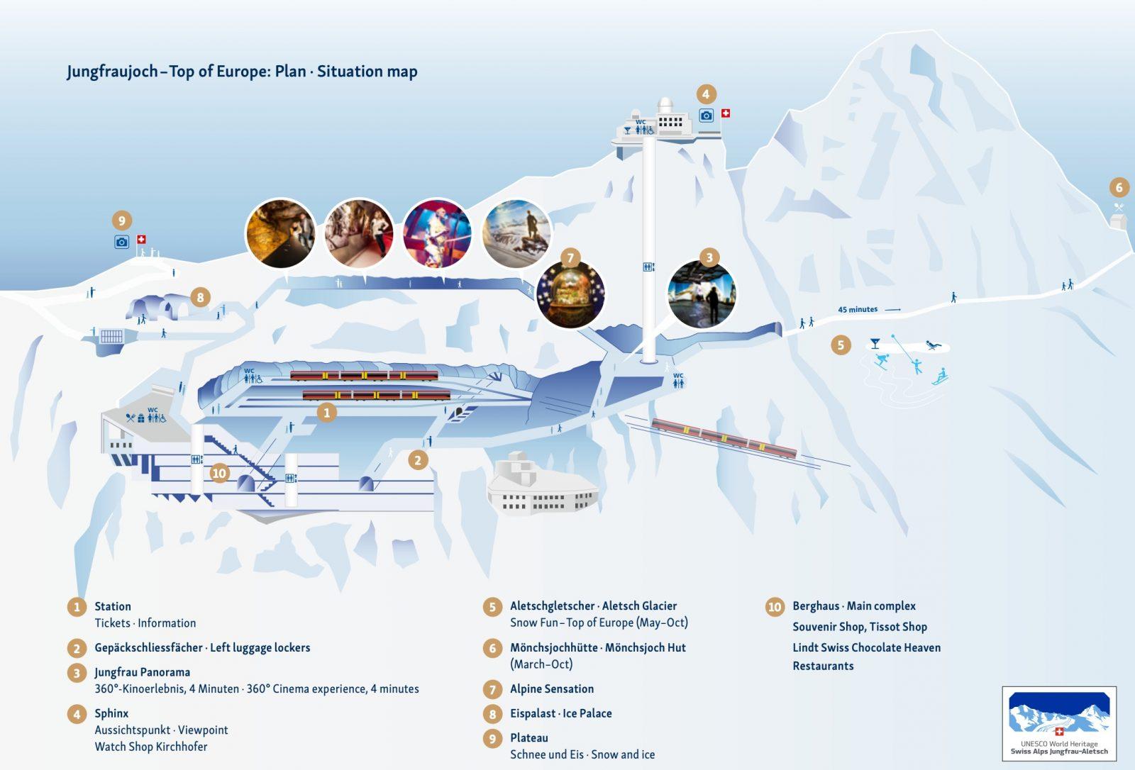 mapa jungfraujoch
