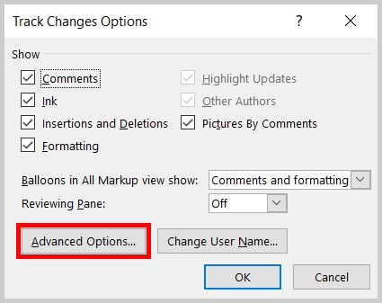 Image of Word 2019 Track Changes Options Dialog Box | How to open the Advanced Track Changes Options dialog box