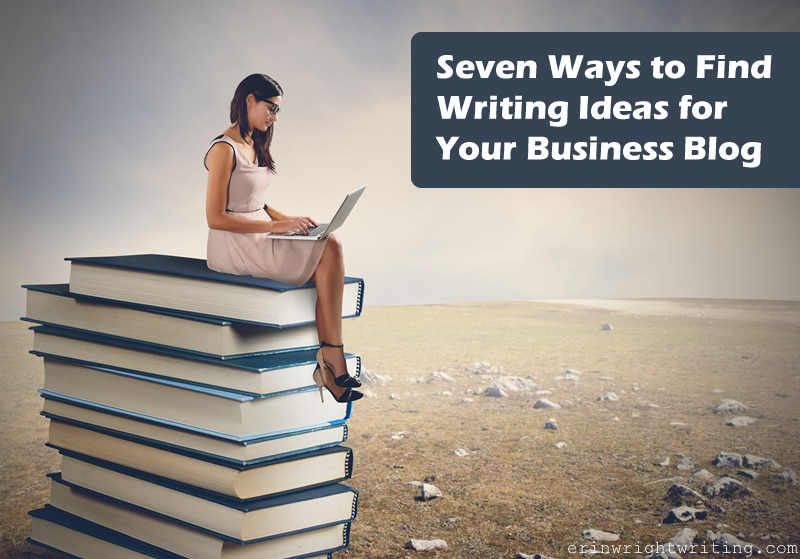 Seven Ways to Find Writing Ideas for Your Business Blog | Image of Woman Writing on Laptop while Sitting on Giant Stack of Books