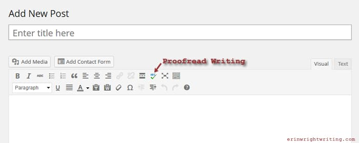 WordPress Proofread Writing Button