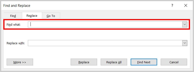 Image of Word 2019 Find and Replace Dialog Box Find What Text Box | Step 4 in How to Delete Extra Spaces in Microsoft Word