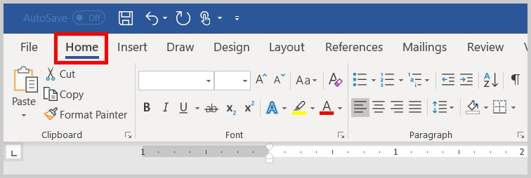 Image of Word 2019 Home Tab | Step 1 in How to Delete Extra Spaces in Microsoft Word