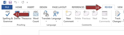 Word 2013 Spelling & Grammar check in Review tab