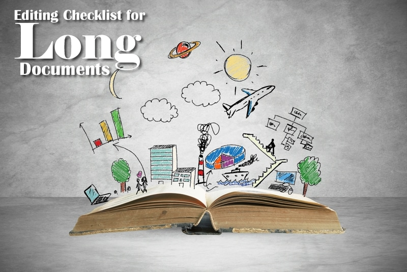 Editing Checklist for Long Documents   Large book with scribble graphics