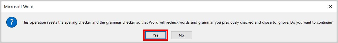 Image of Word 365 / Word 2019 Recheck Document Alert Box | Four Tips for Using the Spelling and Grammar Check in Word