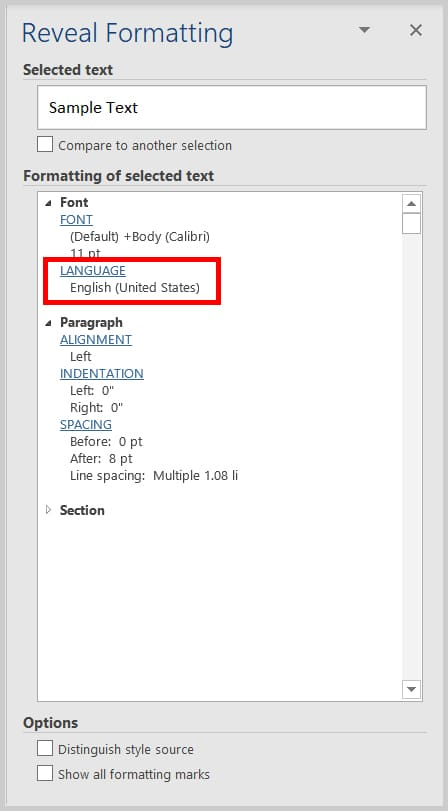 Image of Word 365 / Word 2019 Reveal Formatting Pane | Four Tips for Using the Spelling and Grammar Check in Word
