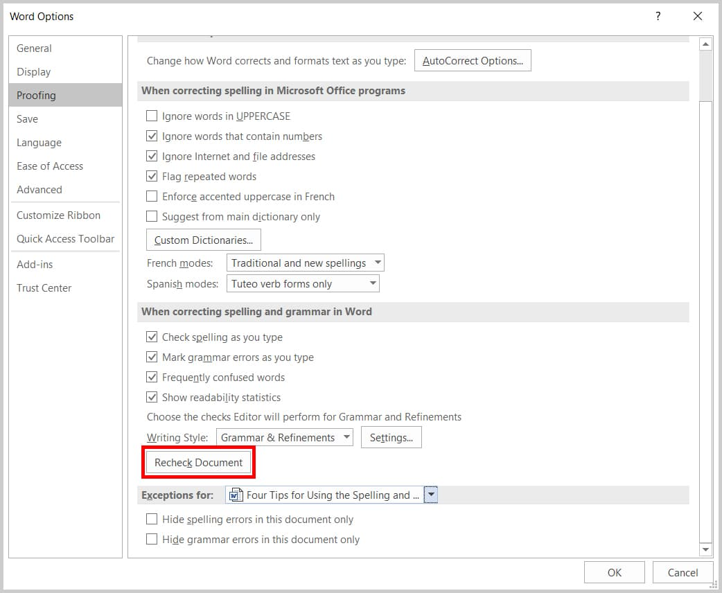 Image of Word 365 / Word 2019 Word Options Dialog Box Recheck Document Button | Four Tips for Using the Spelling and Grammar Check in Word