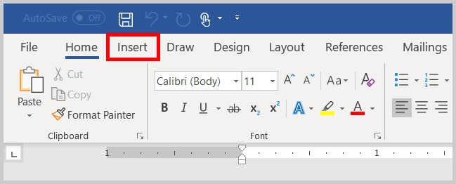 Image of Word 2019 / Word 365 Insert Tab | Step 2 in How to Insert Currency Symbols in Word