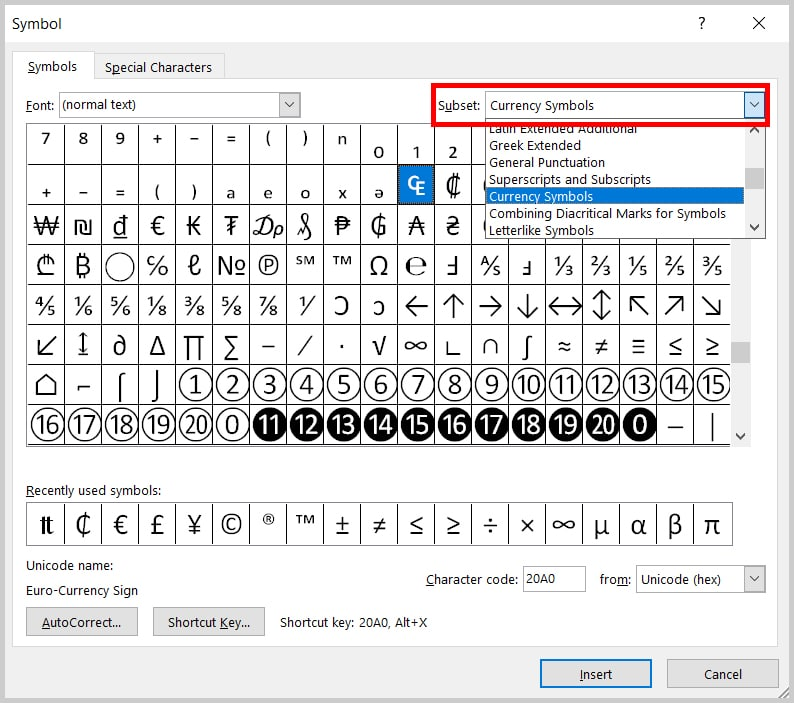 Image of Word 2019 / Word 365 Symbol Dialog Box Currency Symbol Subset | Step 6 in How to Insert Currency Symbols in Word