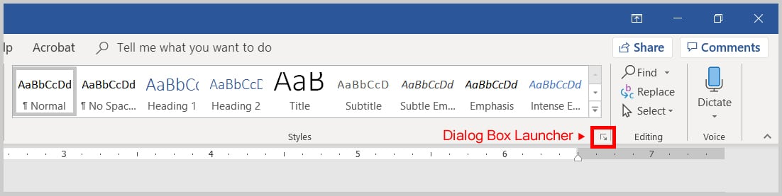 Image of Word 365 / Word 2019 Styles Dialog Box Launcher | Step 2 in How to Change the Proofing Language for Comments in Word