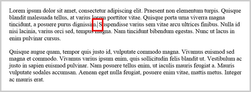 Image of Cursor in Text in Word 365 / Word 2019   Step 1 for How to Insert Footnotes and Endnotes in Word