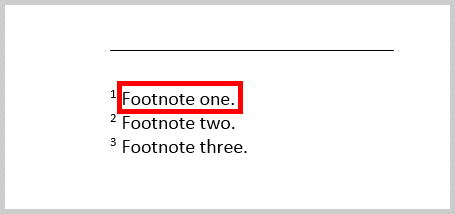 Image of a Footnote in Word 365 / Word 2019   Step 7 in How to Insert Footnotes and Endnotes in Word