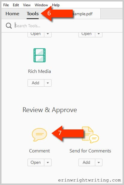 Adobe Acrobat DC Tools Center Comment Shortcut--Steps 6 and 7 for how to change your name for new comments and mark-ups in Adobe Acrobat DC