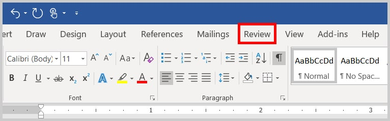 Image of Word 365 / Word 2019 Review Tab | Step 1 in How to Change Your User Name for Track Changes in Word