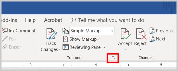 Image of Word 365 / Word 2019 Tracking Group Dialog Box Launcher | Step 2 in How to Change Your User Name for Track Changes in Microsoft Word