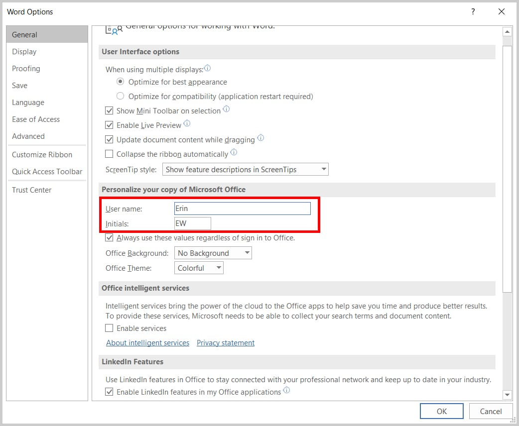 Image of Word 365 / Word 2019 Word Options Dialog Box User Name and Initials | Step 4 in How to Change Your User Name for Track Changes in Microsoft Word