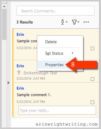 Adobe Acrobat DC Comment Pane Comment Properties Option--Step 8 in how to change your name for existing comments and mark-ups in Adobe Acrobat DC