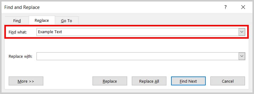 Image of Word 365 / Word 2019 Find What Text Box in the Find and Replace Dialog Box   Step 3 in How to Find and Replace Formatting Applied to Specific Text in a Word Document