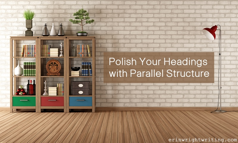 Polish Your Headings with Parallel Structure | Bookcase and Lamp Against Brick Wall